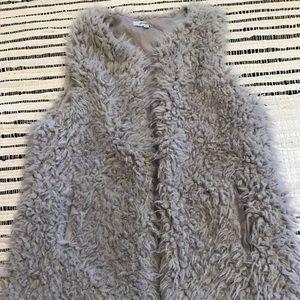 Gray Furry Vest